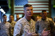U.S. Marine Lt. Gen. William D. Beydler, Commander, U.S. Marine Corps Forces Central Command (MARCENT) conducts a command visit of  5th Marine Expeditionary Brigade aboard Naval Support Activity Bahrain, Nov. 15, 2015. Lt. Gen. Beydler discussed readiness and the training necessary for  the staff to respond as a command element for crisis response and contingencies.(U.S. Marine Corps photo by Cpl. Lauren Falk, 5th MEB Combat Camera/Released)