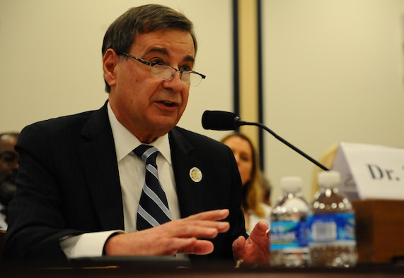 Dr. Greg L. Zacharias, the chief scientist of the Air Force, testifies before the House Armed Services Committee on Capitol Hill, Nov. 19, 2015. The subject of the hearing was advancing the science and acceptance of autonomy for future defense systems. (U.S. Air Force photo/Senior Airman Hailey Haux)