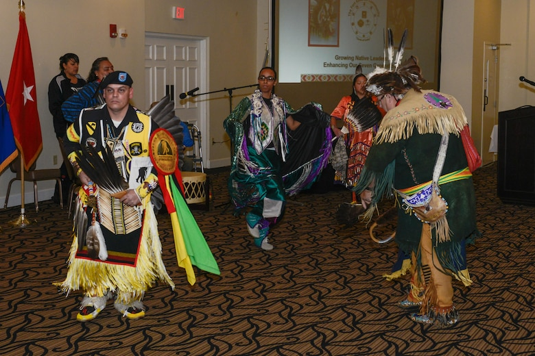 Members of the Red Road Awareness, a non-profit organization that was created to assist American Indians in crisis, perform a traditional Native American dance during the National American Indian Heritage Month observance Nov. 20 at Fort Knox, Ky. U.S. Army Reserve soldiers from the 11th Theater Aviation Command (TAC), headquartered at Fort Knox, co-hosted this event in order to recognize the significant contributions that American Indians made to the establishment and growth of the U.S. The 11th Theater Aviation Command (TAC) is the only aviation command in the Army Reserve. The 11th TAC has two missions, functioning as both a warfighting headquarters and as a functional command. As warfighting command, the 11th TAC provides command & control, staff planning, and supervision for two aviation brigades and one air traffic service battalion. As a functional command the 11th TAC provides command and control for all Army Reserve Aviation. (Photo by Fort Knox Visual Information)
