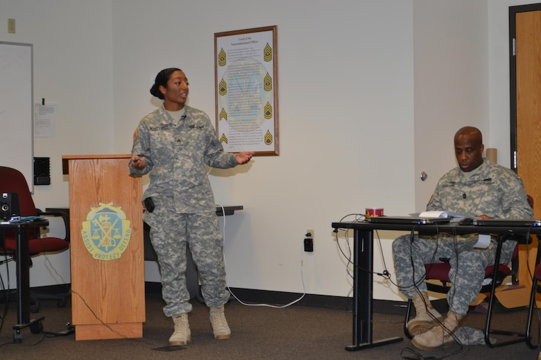 Staff Sgt. Jadrian Whitfield, competes in the 80th Training Command Instructor of the Year Competition, Fort Knox, Ky., Nov. 6, 2015. Two weeks after she won the 80th Training Command Instructor of the Year competition in the enlisted category, the human intelligence collector instructor captured the IOY title at the Army Reserve Command level.