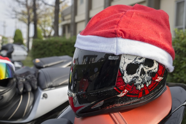 Motorcyclists from Marine Corps Air Station Iwakuni, Japan, and the local Japanese community rode onto MCAS Iwakuni for the third-annual Toy Drive and Motorcycle Rally, Nov. 22, 2015. Riders decked-out their bikes in holiday decorations and donated toys at the Marine Thrift Store for Japanese orphans. The event concluded with a Thunder Ride around the air station.