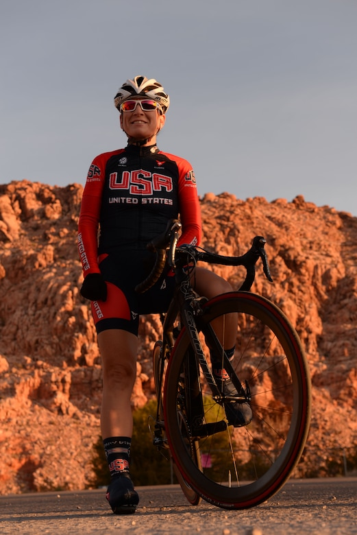 (Maj.) Dr. Shannon Gaffney, 99th Medical Group staff radiologist, poses for a photo before riding her bike through the Calico Basin in Las Vegas, Nov. 18, 2015. On Oct. 6 and 8, 2015 Gaffney raced as a member of the U.S. Armed Forces Cycling Team for the Military World Games. Gaffney was the top U.S. finisher in the women's cycling road race. (U.S. Air Force photo by Airman 1st Class Rachel Loftis)