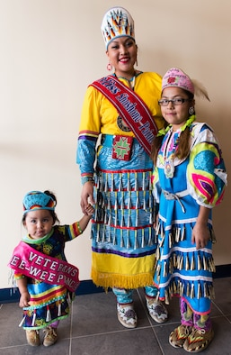Miss Shoshone-Pauite poses for a photo with the Future Shoshone-Paiute Princess and Pee-Wee Princess at the Duck Valley Indian Reservation, Nevada, Nov. 17, 2015. The family showed their support during the grand opening of the Tribal Headquarters building. (U.S. Air Force photo by Airman 1st Class Connor J. Marth)