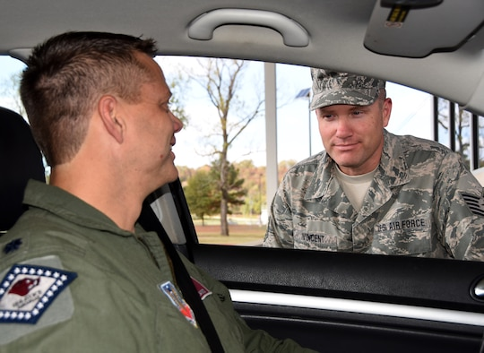 Tech. Sgt. John Vincent conducts seat belt checks at Ebbing Air National Guard Base, Fort Smith, Ark., Nov. 4, 2015. Vincent joined the Arkansas Air National Guard in 2003 and is an occupational safety technician with the 188th Safety office. Vincent has been selected as The Flying Razorback Spotlight for December. (U.S. Air National Guard photo by Staff Sgt. Hannah Dickerson/Released)