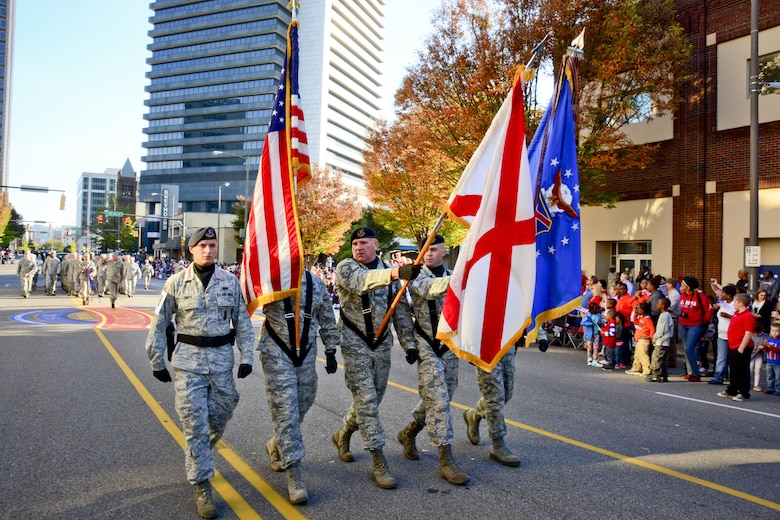 Airmen from the 117th Air Refueling Wing, Birmingham, Alabama march in the Veterans Day parade in Birmingham, Ala. November 11, 2015, (U.S. Air National Guard photo by Senior Master Sgt. Ken Johnson/Released)