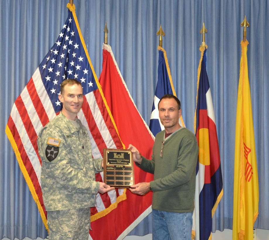 ALBUQUERQUE, N.M. – Nov. 23, 2015, District Commander Lt. Col. Patrick Dagon and the District's Small Business Specialist Daniel Curado display one of the awards the District recently received.  The District received two awards in the Service Disabled Veteran-Owned Small Business (SDVOSB) category at the National SAME Small Business Conference held in New Orleans. The District was third in total SDVOSB percentage (16.55%) and ninth in total SDVOSB obligations ($25.4 million).