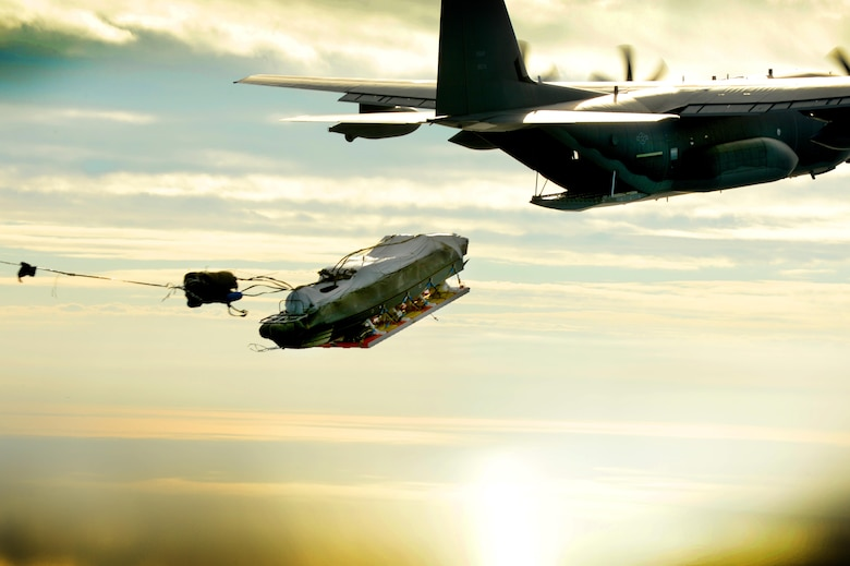An MC-130J Commando II from the 9th Special Operations Squadron airdrops a Maritime Craft Aerial Delivery System over the Gulf of Mexico during a training exercise Nov. 12, 2015. This was the first time aircrews from the 9th SOS successfully completed an MCADS airdrop. (U.S. Air Force photo/Staff Sgt. Matthew Plew)