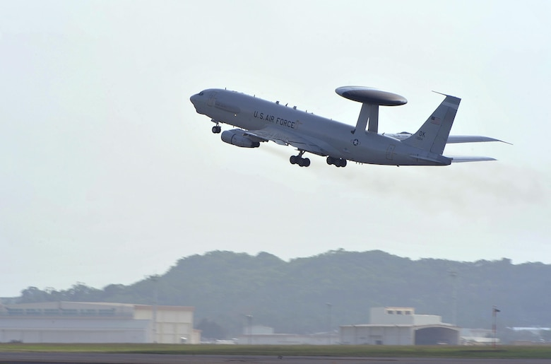 An E-3 Sentry airborne warning and control system from the 961st Airborne Air Control Squadron takes off from Kadena Air Base, Japan, Nov. 10, 2015. The AWACS aircraft provides all-weather surveillance, command, control and communications needed by commanders of U.S., NATO and other allied air defense forces. (U.S. Air Force photo/Naoto Anazawa)