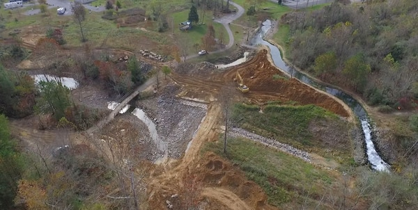 An aerial view of  Hatchery Creek construction in the final phase, the short stream is located behind the Wolf Creek National Fish Hatchery, downstream of Wolf Creek Dam and Lake Cumberland in Russell County is currently closed for the final phase of construction.