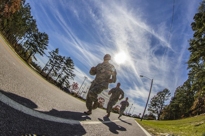Soldiers begin a 1.5-mile run to the confidence course during the assessment phase of the Best Ranger Competition on Fort Jackson, S.C., Nov. 24, 2015. U.S. Army photo by Sgt. 1st Class Brian Hamilton