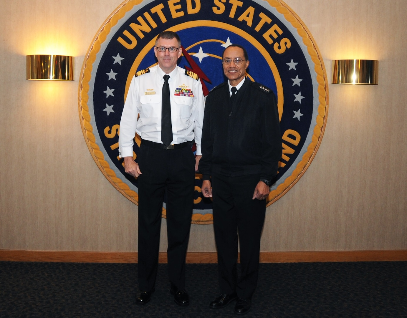 U.S. Navy Adm. Cecil D. Haney (right), U.S. Strategic Command (USSTRATCOM) commander, poses for a photo with Royal Australian Navy Vice Adm. Raymond J. Griggs, Vice Chief of the Australian Defence Force, during Griggs' visit to USSTRATCOM headquarters, Offutt Air Force Base, Neb., Nov. 30, 2015. While here, Griggs participated in a series of discussions with USSTRATCOM senior leaders to gain a better understanding of the command and its missions. Hosting Griggs' visit is one of many of USSTRATCOM's ongoing efforts to build and maintain enduring relationships with partner nations to confront the broad range of global challenges. One of nine DoD unified combatant commands, USSTRATCOM has global strategic missions, assigned through the Unified Command Plan, which include strategic deterrence; space operations; cyberspace operations; joint electronic warfare; missile defense; intelligence, surveillance and reconnaissance; combating weapons of mass destruction; and analysis and targeting. (USSTRATCOM photo by Steve Cunningham)