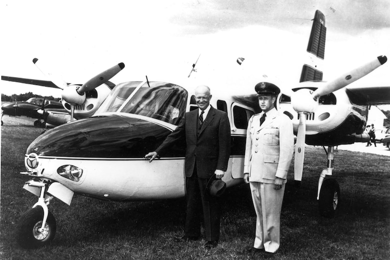 President Eisenhower and his presidential pilot, Col. William G. Draper, with the U-4B Aero Commander. (U.S. Air Force photo)