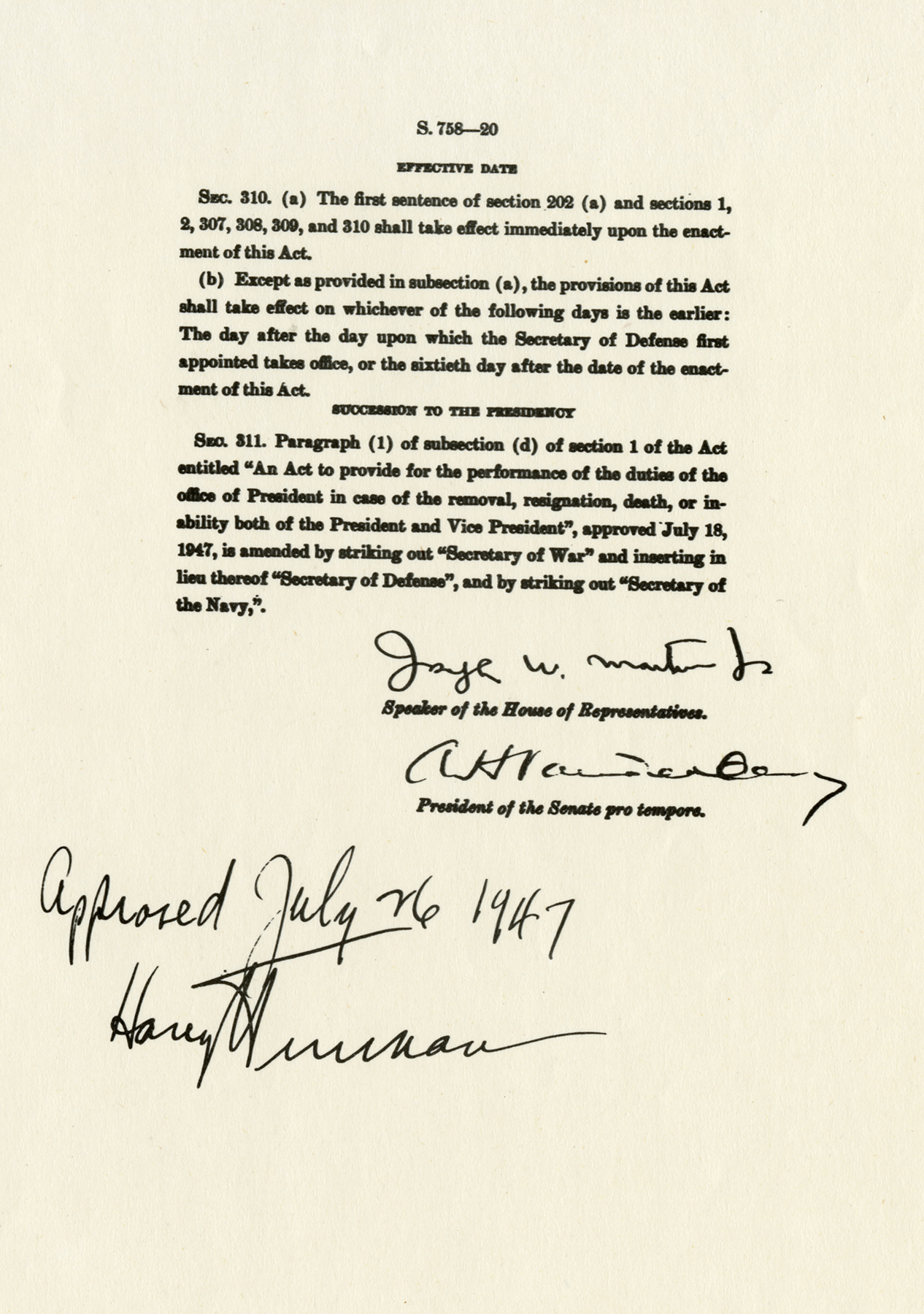 national security act National security act, us military- and foreign-policy reform legislation, signed  into law by pres harry s truman in july 1947, which reorganized the structure.