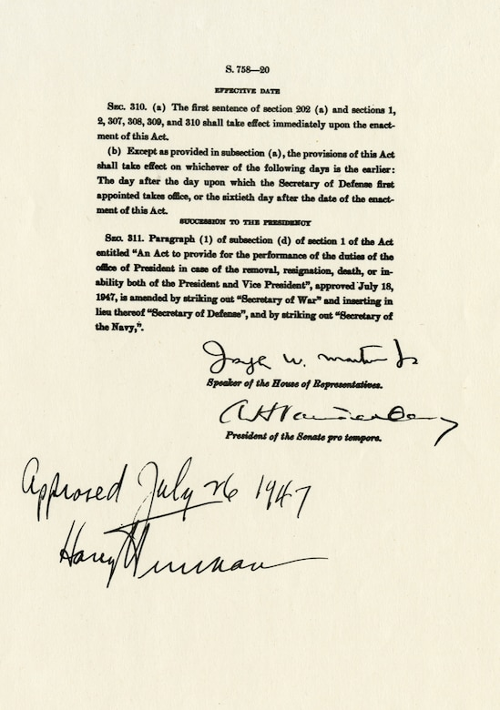 Copy (enlarged) of the National Security Act of 1947, which was signed by President Truman and established the United States Air Force. (U.S. Air Force photo)