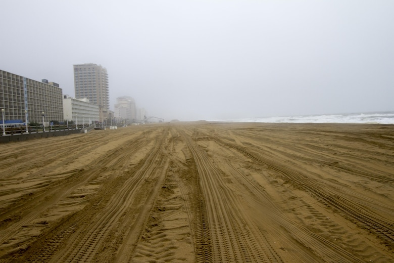 VIRGINIA BEACH, Va. -- Ahead of Hurricane Joaquin, waves break on the shore of the Virginia Beach Hurricane Protection project Oct. 1, 2015.  The Norfolk District, in partnership with the City of Virginia Beach, completed a beach renourishment project in 2013 that widened the buffer between storm surge and the city's homes, businesses, and tourist attractions. Before Hurricane Joaquin, Norfolk District project teams will assess the Virginia Beach Hurricane Protection project, and will do a post-storm assessment to document any impacts to the system. (U.S. Army photo/Patrick Bloodgood)