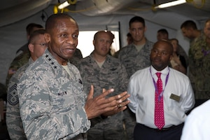 In parallel with the Joint Enabling Capabilities Command's (JECC) quarterly held Mission Readiness Exercise (MRX), U.S. Air Force Gen. Darrel McDew, the Commander, U.S. Transportation Command, spoke with eight staff members from the Florida congressional delegation to demonstrate the mission-critical capabilities the JECC brings to a full range of real-world missions. During the MRX, the distinguished visitors saw firsthand how the JECC can rapidly standup a joint force headquarters and bridge joint operational requirements.