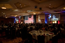 Maj. Gen. Thomas Deale, Air Combat Command director of operations, speaks to attendees of the 2015 Las Vegas Air Force Ball at the South Point Hotel and Casino in Las Vegas, Sept. 26, 2015. As ACC's director of operations, Deale is responsible for all matters pertaining to the direct operational planning, training, command and controlling functions to deploy and employ regular and Reserve component combat air forces, including more than 1,900 aircraft, in support of U.S. security objectives. (U.S. Air Force photo by Staff Sgt. Siuta B. Ika)