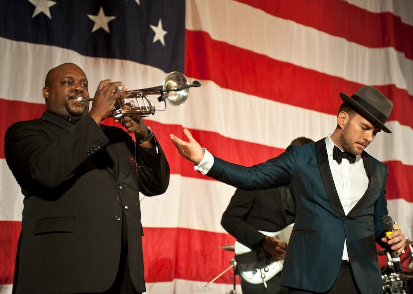 A trumpet player in Matt Goss' seven-piece band performs during the 2015 Las Vegas Air Force Ball at the South Point Hotel and Casino in Las Vegas, Sept. 26, 2015. Goss and his seven-piece band were the headline performers for the event, which was attended by Air Force members, spouses, local and corporate supporters, honored guests, and military leadership. (U.S. Air Force photo by Staff Sgt. Siuta B. Ika)