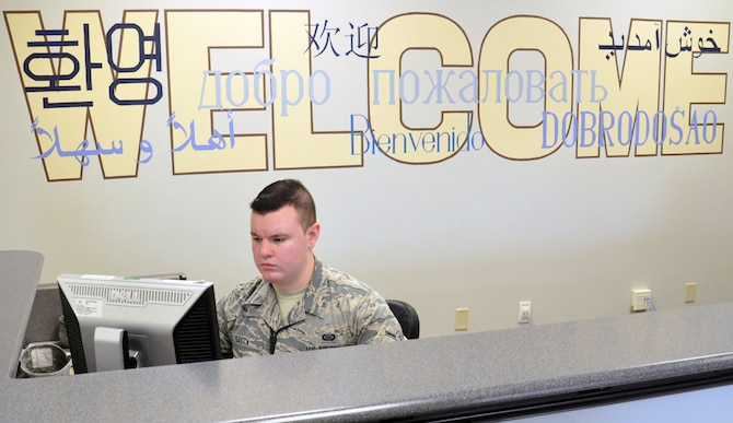 U.S. Air Force Airman Kyle Sacca mans the front desk of the Offutt Language Learning Center Sept. 23. The 55th Wing is home to two LLCs that are vital in the upkeep of linguist training. (U.S. Air Force photo by Staff Sgt. Rachelle Blake)