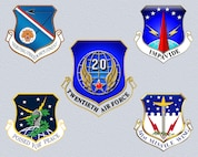 The shield of the 377th Air Base Wing, upper left,  joins those of the 20th Air Force on Oct. 1, 2015.
