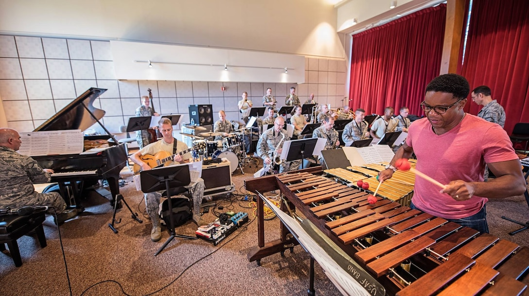 The Airmen of Note, in rehearsal with jazz vibraphonist Stefon Harris, are preparing for their first 2015 Jazz Heritage Series concert which will occur at the University of Maryland's Clarice Smith Performing Arts Center. (U.S. Air Force photo by Senior Master Sgt Kevin Burns/released)