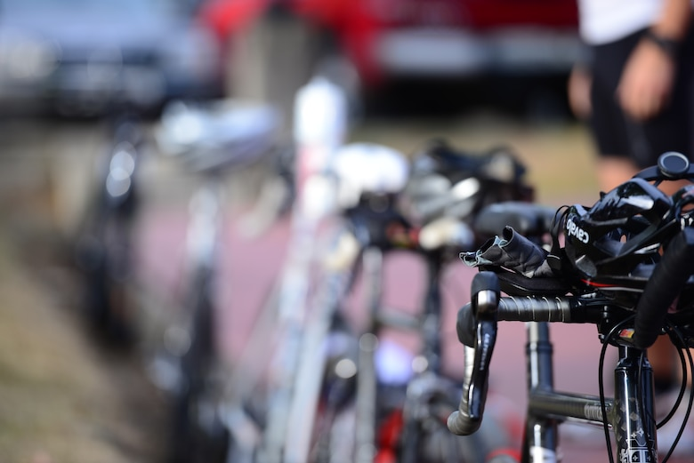 Bikes are lined up at the ready to be used in the second portion a race held at Osan Air Base, Republic of Korea, Sept. 30, 2015. The race was part of the second annual Osan Cup, a two-day contest with a variety of events designed to play to different strengths and promote healthy competition. (U.S. Air Force photo/Staff Sgt. Amber Grimm)