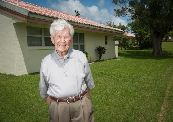 Retired U.S. Air Force Col. John Buchanan visits his former Stearley Heights home Sept. 10, 2015, on Kadena Air Base, Japan. Buchanan was the first resident of the base housing unit upon its completion in 1951. (U.S. Air Force photo by Master Sgt. Jason W. Edwards)