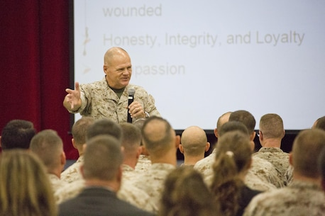 Commandant of the Marine Corps, Gen. Robert B. Neller, speaks to Marines with Marine Corps University at Ellis Hall, Marine Corps Base Quantico, Va., Oct. 1, 2015. Neller spoke about readiness, training, Naval integration, modernization and technology. (U.S. Marine Corps photo by Sgt. Gabriela Garcia/Released)