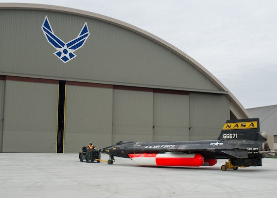 Museum restoration crews move the X-15A-2 from the restoration hangar to the museum's new fourth building on Oct. 2, 2015. The X-15 became the first aircraft to be moved into the fourth building, where it will be part of the expanded Space Gallery. (U.S. Air Force photo by Ken LaRock)