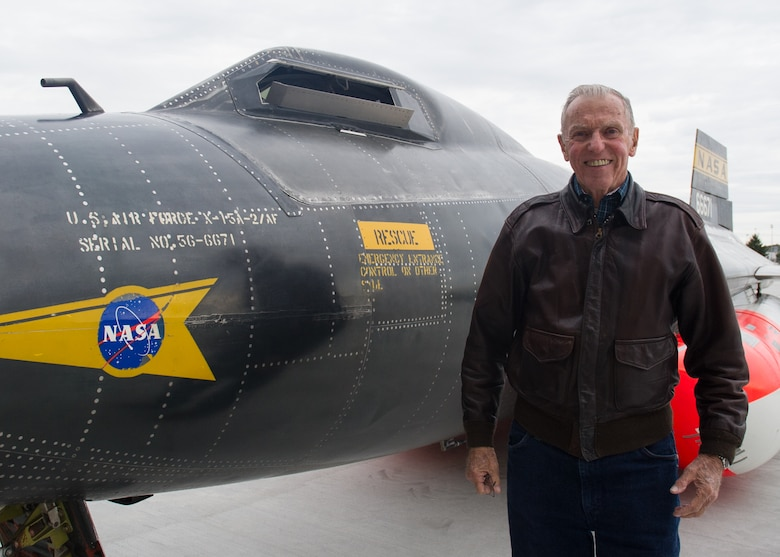 Retired NASA astronaut and the only surviving X-15 pilot, Maj. Gen. (Ret.) Joe Engle poses in front of the museum's X-15A-2. The X-15 became the first aircraft to be moved into the fourth building when it was moved from the restoration hangar on Oct. 2, 2015. (U.S. Air Force photo by Ken LaRock)