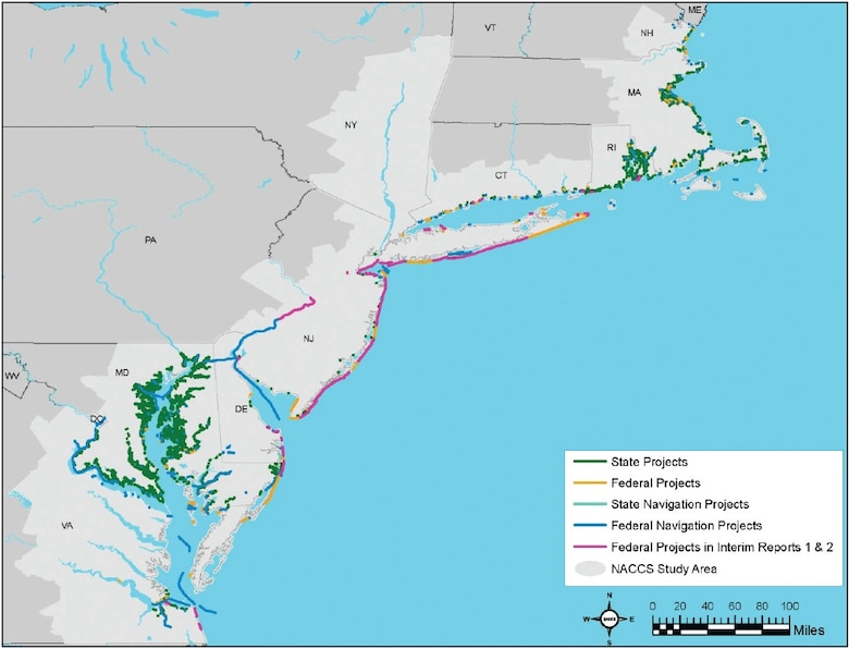 This graphic uses colored symbols to show where U.S. Army Corps of Engineers and state coastal risk mitigation and navigation projects built before and since Hurricane Sandy are located along the North Atlantic coast.
