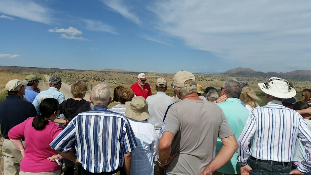 GALISTEO DAM, N.M. – District archaeologist Gregory Everhart conducts a tour of the Galisteo Project for attendees during the All Trails Lead to Santa Fe Conference, Sept. 20, 2015.