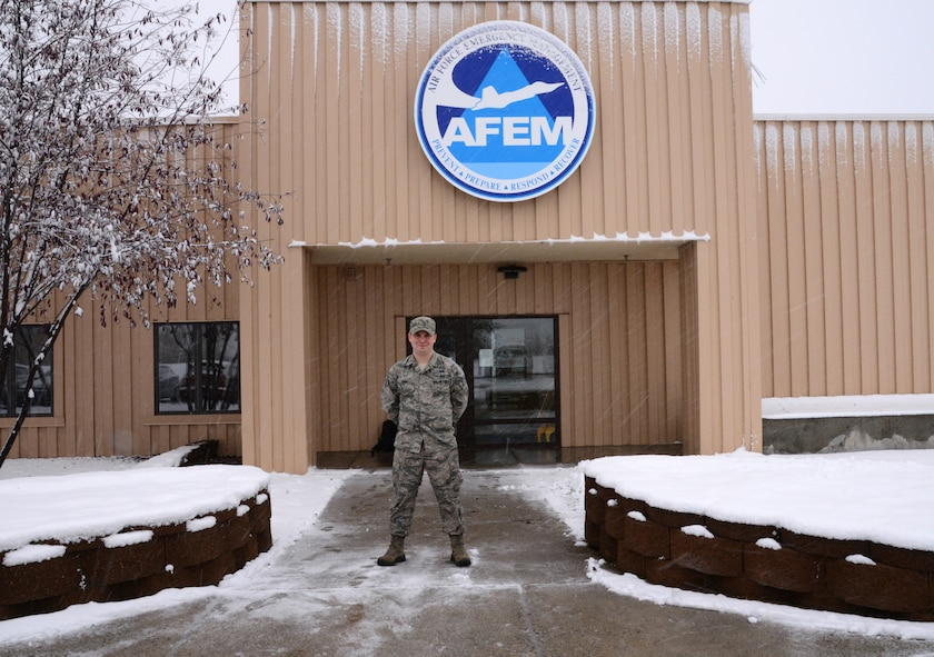 U.S. Air Force Senior Airman Sean Kirby, a 354th Civil Engineer Squadron emergency management journeyman, takes a quick break Sep. 29, 2015, at Eielson Air Force Base, Alaska. Kirby said serving in the Air Force is important to him because it gives him the opportunity to serve his country and follow in the same footsteps as his parents and grandparents. (U.S. Air Force photo by Airman 1st Class Cassandra Whitman/Released)