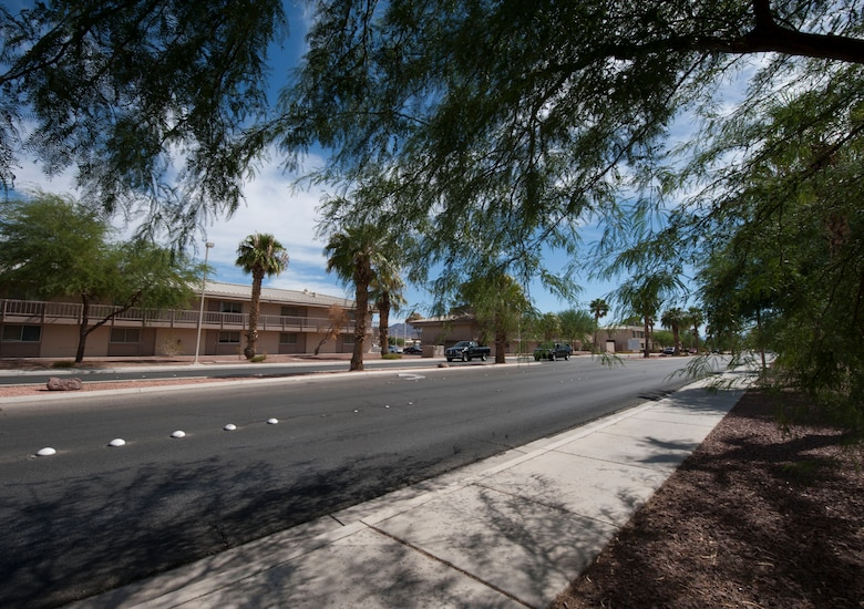 Cars drive down Washington Boulevard on Nellis Air Force Base, Nev., Sept. 30, 2015. Construction on Washington Boulevard began March 16 and was officially completed Sept. 11, 2015. The construction was finished approximately 30 days early. (U.S. Air Force photo by Airman 1st Class Mikaley Kline)