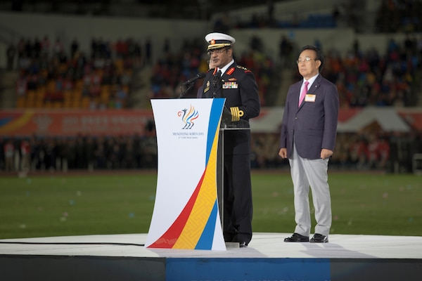 Athletes of over 100 nations joined together in Mungyeong, South Korea, for the Opening Ceremony of the 2015 6th Conseil International du Sport Militaire (CISM) World Games. The ceremony included the marching in of each nation, words from the president of South Korea and many Korean cultural dances.The CISM World Games provides the opportunity for the athletes of these nations to come together and enjoy friendship through sports. The sixth annual CISM World Games are being held aboard Mungyeong, South Korea, Sept. 30-Oct. 11.
