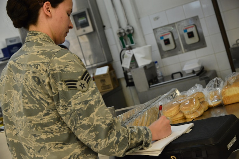 Senior Airman Leah Smith, 379th Expeditionary Medical Operations Support Squadron Bioenvironmental, writes down exact measurements of a ventilation system to compare them with Occupational Safety and Health Administration standards for cooking safety September 30, 2015 at Al Udeid Air Base, Qatar. (U.S. Air Force photo/Staff Sgt. Alexandre Montes)