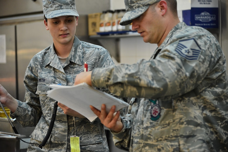 Senior Airman Leah Smith, 379th Expeditionary Medical Operations Support Squadron Bioenvironmental, overlooks as Master Sgt. Christopher Lance, 379th Expeditionary Civil Engineer Squadron Fire Department, writes down the corresponding air flow measurements for each section of a dining facility ventilation system September 30, 2015 at Al Udeid Air Base, Qatar. (U.S. Air Force photo/Staff Sgt. Alexandre Montes)