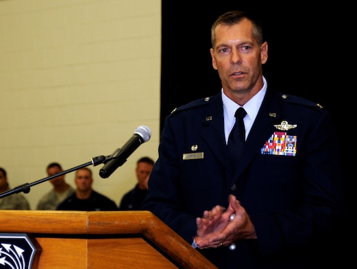 Col. David P. Garfield, the 482nd Fighter Wing commander, addresses members of Team Homestead for the first time as their new commander during a change-of-command ceremony in Building 471, at Homestead Air Reserve Base, Florida, Sept. 13.  (U.S. Air Force photo by Senior Airman Frank Casciotta)
