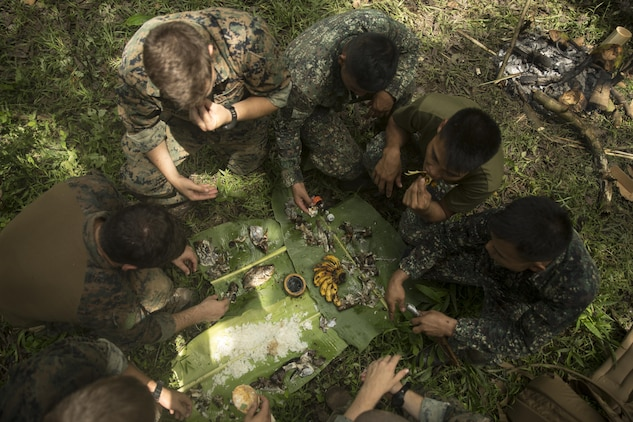 Philippine and U.S. Marines share a meal together during jungle survival training at Ternate, Philippines, Sept. 29, 2015 as part of Amphibious Landing Exercise 2015. The Marines learned basic jungle survival skills, such as building a fire, finding sources of fresh water and catching food. The Philippine Marines taught the U.S. Marines how to use the surrounding environment to self-sustain themselves in the jungle. PHIBLEX 15 is an annual, bilateral training exercise conducted by U.S. Marine and Navy Forces with the Armed Forces of the Philippines in order to strengthen our interoperability and working relationships across a wide range of military operations — from disaster relief to complex expeditionary operations. The Philippine Marines are reconnaissance men with 64th Force Recon Company, Marine Special Operations Group. The U.S. Marines are reconnaissance men with 3rd Recon Battalion, 3rd Marine Division, III Marine Expeditionary Force.