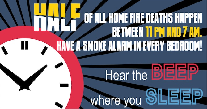 "National Fire Prevention Week, hosted by the National Fire Protection Association and held Oct. 4-10 this year, is an opportunity for installation fire departments to put Airmen's focus on fire safety. This year's theme, ""hear the beep where you sleep,"" is a call to have a working smoke alarm in every room in the house. (Courtesy image)"