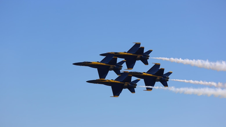 U.S. Navy Blue Angels perform at the 2015 MCAS Miramar Air Show at Marine Corps Air Station Miramar, California, Oct. 2. Sixteen pilots volunteer to fly in the formation of F/A-18 Hornets to show audiences around the world the capabilities of the armed forces' aircraft.