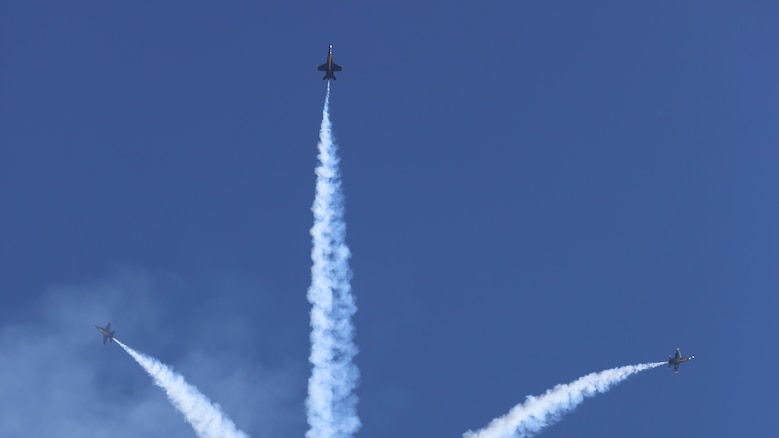 U.S. Navy Blue Angels perform aeriel manuevers at the 2015 MCAS Miramar Air Show at Marine Corps Air Station Miramar, California, Oct. 2. Sixteen pilots volunteer to fly in the formation of F/A-18 Hornets to show audiences around the world the capabilities of the armed forces' aircraft.