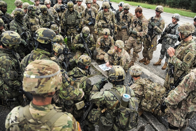 U.S. and Czech paratroopers attend a briefing before an air assault operation as part of Exercise Sky Soldier II at the Bechyne Training Area in the Czech Republic, Sept. 24, 2015. The U.S. paratroopers are assigned to the 91st Cavalry Regiment, 173rd Airborne Brigade. U.S. Army photo by Markus Rauchenberger