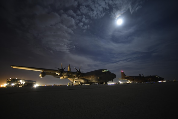 Two HC-130J Combat King IIs sit on the flight line in preparation for cargo unload at Diyarbakir Air Base, Turkey, Sept. 28, 2015. The aircraft is deployed to Diyarbakir in an effort to enhance coalition capabilities and support personnel recovery operations in Syria and Iraq. (U.S. Air Force photo/Airman 1st Class Cory W. Bush)