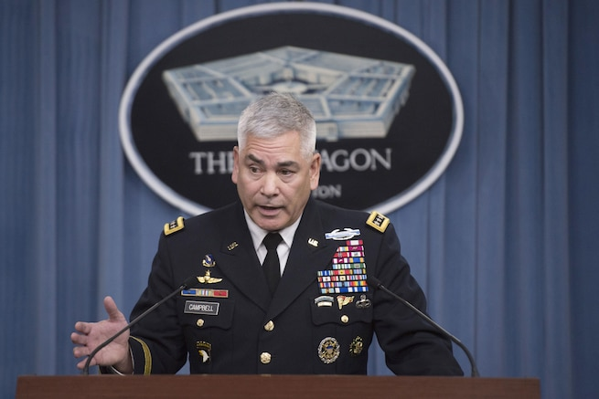 Army Gen. John F. Campbell, commander of U.S. forces in Afghanistan, conducts a press briefing at the Pentagon, Oct. 5, 2015. DoD photo by Air Force Senior Master Sgt. Adrian Cadiz
