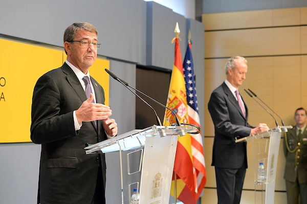U.S. Defense Secretary Ash Carter speaks during a press conference with Spanish Defense Minister Pedro Morenes in Madrid, Oct. 5, 2015. DoD photo by U.S. Army Sgt. 1st Class Clydell Kinchen