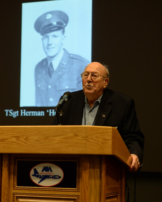 Former U.S. Army Air Corps Tech. Sgt. Herman 'Herk' Streitburger speaks to members of the 157th Air Refueling Wing, Pease Air National Guard Base, New Hampshire, Oct. 3, 2015 about his experience as a prisoner of war during World War II. (U.S. Air National Guard photo by Staff Sgt. Curtis J. Lenz)