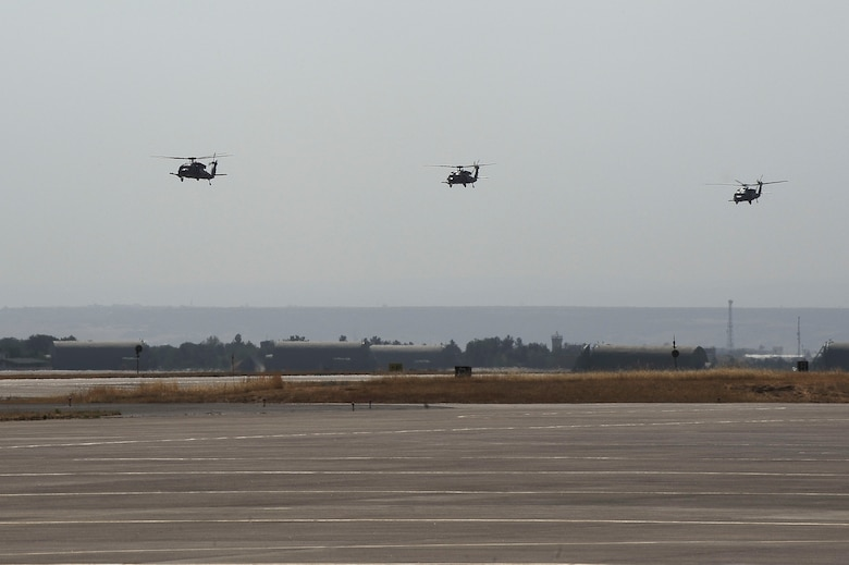 HH-60G Pave Hawk Helicopters arrive at Diyarbakir Air Base, Turkey Oct. 1, 2015. Aircrew and aircraft deployed to Diyarbakir AB will provide critical rescue response capabilities to Coalition forces supporting Operation Inherent Resolve. (U.S. Air Force photo by Airman 1st Class Cory Bush)