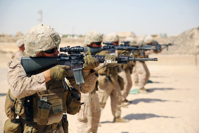 U.S. Marines conduct a live-fire range exercise in Southwest Asia, Sept., 29, 2015. The Marines are with the 3rd Battalion, 7th Marine Regiment, Special Purpose Marine Air-Ground Task Force-Crisis Response-Central Command. U.S. Marine Corps photo by Cpl. Jonathan Boynes