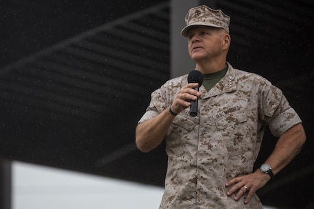 Commandant of the Marine Corps, Gen. Robert B. Neller, speaks with Marines from I Marine Expeditionary Force during a visit to Marine Corps Base Camp Pendleton, Calif. Oct. 5, 2015.  Neller addressed training, readiness, Naval integration, modernization, and technology.  (U.S. Marine Corps photo by Lance Cpl. Adrianna R. Lincoln, 1st Marine Division Combat Camera/Released)